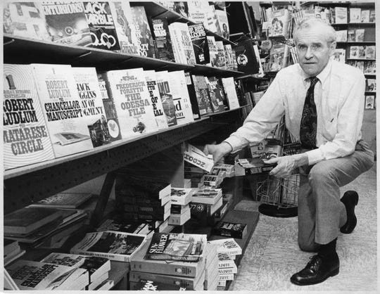 Thomas Downs at his Ridgewood bookstore, Trilby's, in 1980. He was the father of Shaw's owner Thomas Downs.