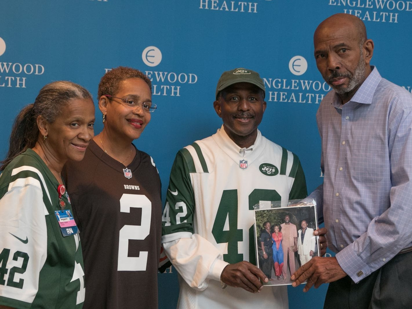 Nancy Harper, Kimberly Cummings, Former NY Jet Bruce Harper, Richard Standard. Englewood Health hosted its Men's Health and Football event with former Jets and Giants players and Don La Greca from ESPN radio. Attendees watched the Thursday night football game while receiving advice about staying healthy and tackling health problems early on. 09/20/2018