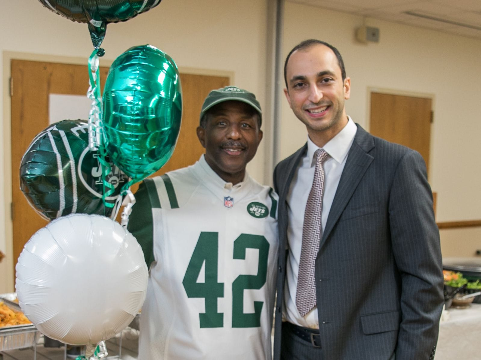 Former NY Jet - Bruce Harper, Dr. Mazyar Ghanaat. Englewood Health hosted its Men's Health and Football event with former Jets and Giants players and Don La Greca from ESPN radio. Attendees watched the Thursday night football game while receiving advice about staying healthy and tackling health problems early on. 09/20/2018