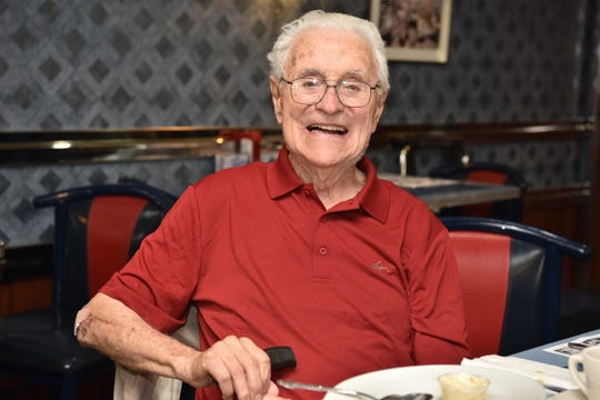 Peter Jacullo, soon to turn 100 years old in November of this year, poses for a photo at The Arena diner in Hackensack, on September 20.