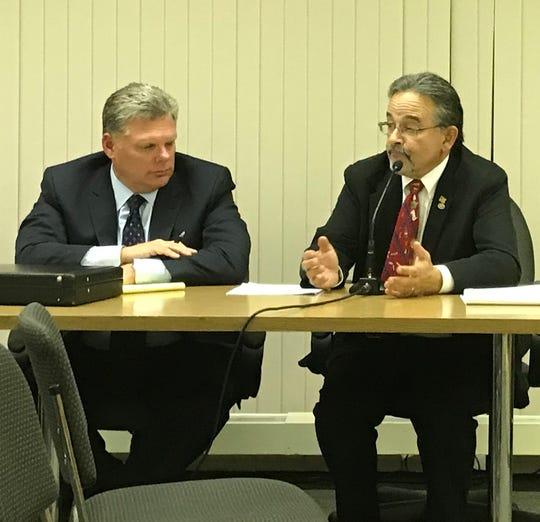 Attorney John Inglesino (left) and interim mayor Paul Minenna sit at a Sept. 20 Rockaway Township Council meeting.