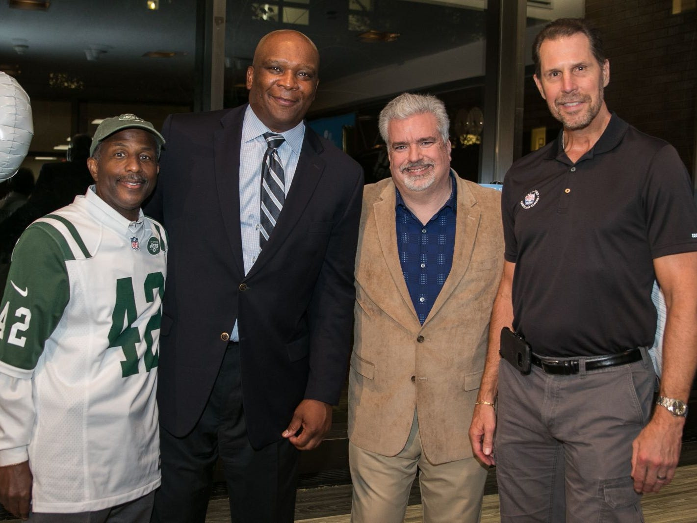 Former NY Jet Bruce Harper, Former NY Giant Howard Cross, ESPN Radio Don La Greca, Former NY Giant Karl Nelson. Englewood Health hosted its Men's Health and Football event with former Jets and Giants players and Don La Greca from ESPN radio. Attendees watched the Thursday night football game while receiving advice about staying healthy and tackling health problems early on. 09/20/2018