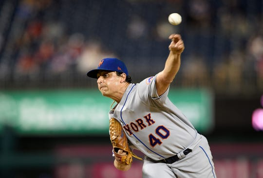 New York Mets starting pitcher Jason Vargas throws during the first inning of the team's baseball game against the Washington Nationals, Thursday, Sept. 20, 2018, in Washington.