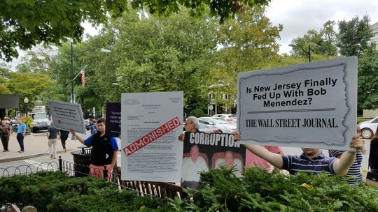 Pro-Bob Hugin protesters ringed the park in Palmer Square where U.S. Sen. Bob Menendez held a campaign event on Sept. 21, 2018.