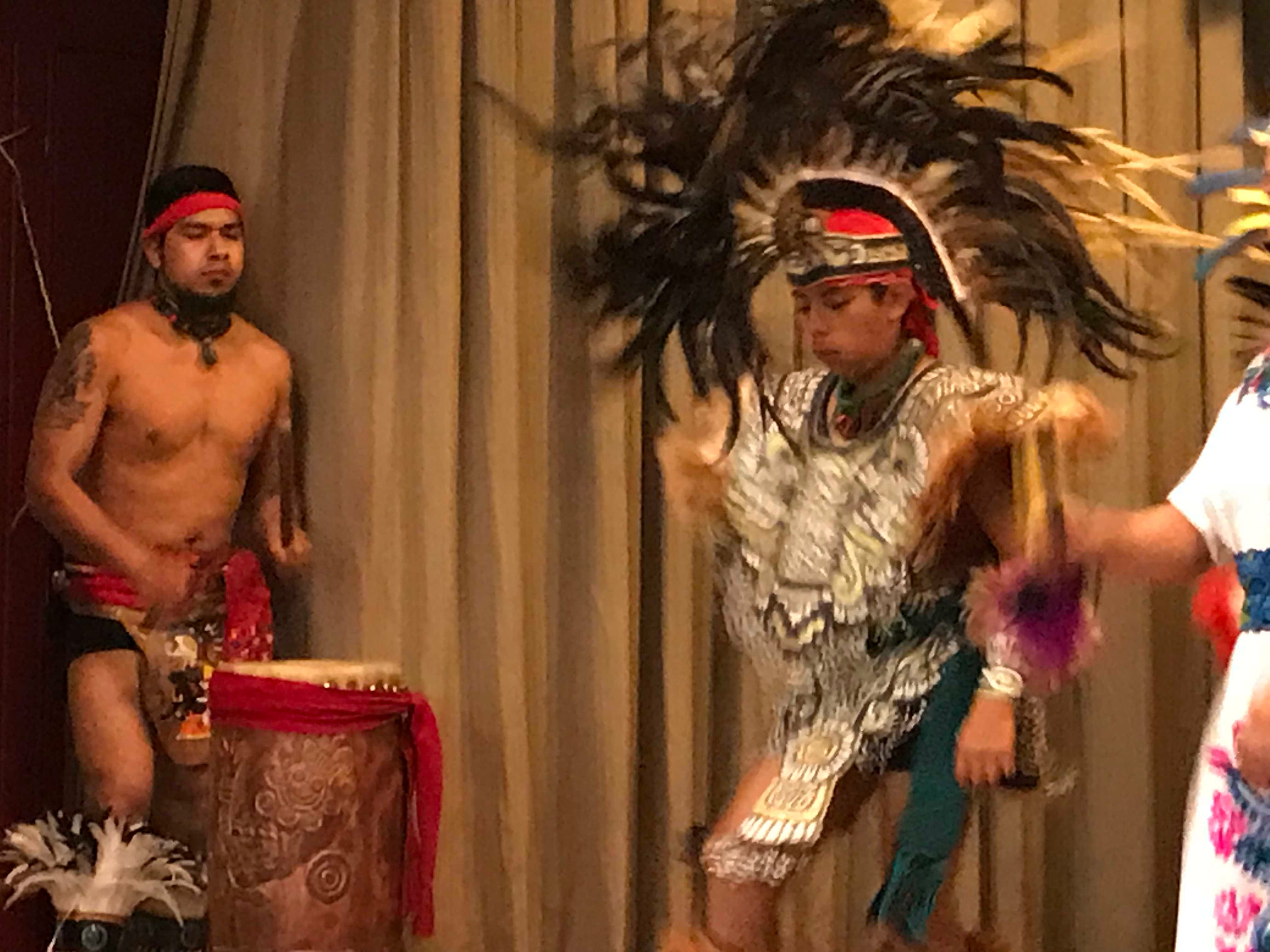 The drummer for  Esperanza Azteca kept a steady beat as dancers perform a traditional dance.