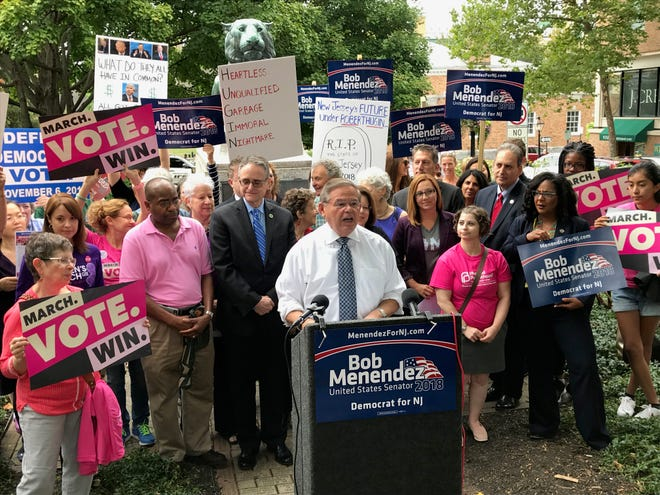 U.S. Sen. Bob Menendez speaks at a news conference in Princeton on Sept. 21, 2018 where he attacked his Republican opponent Bob Hugin for his record on women's and LGBTQ issues.