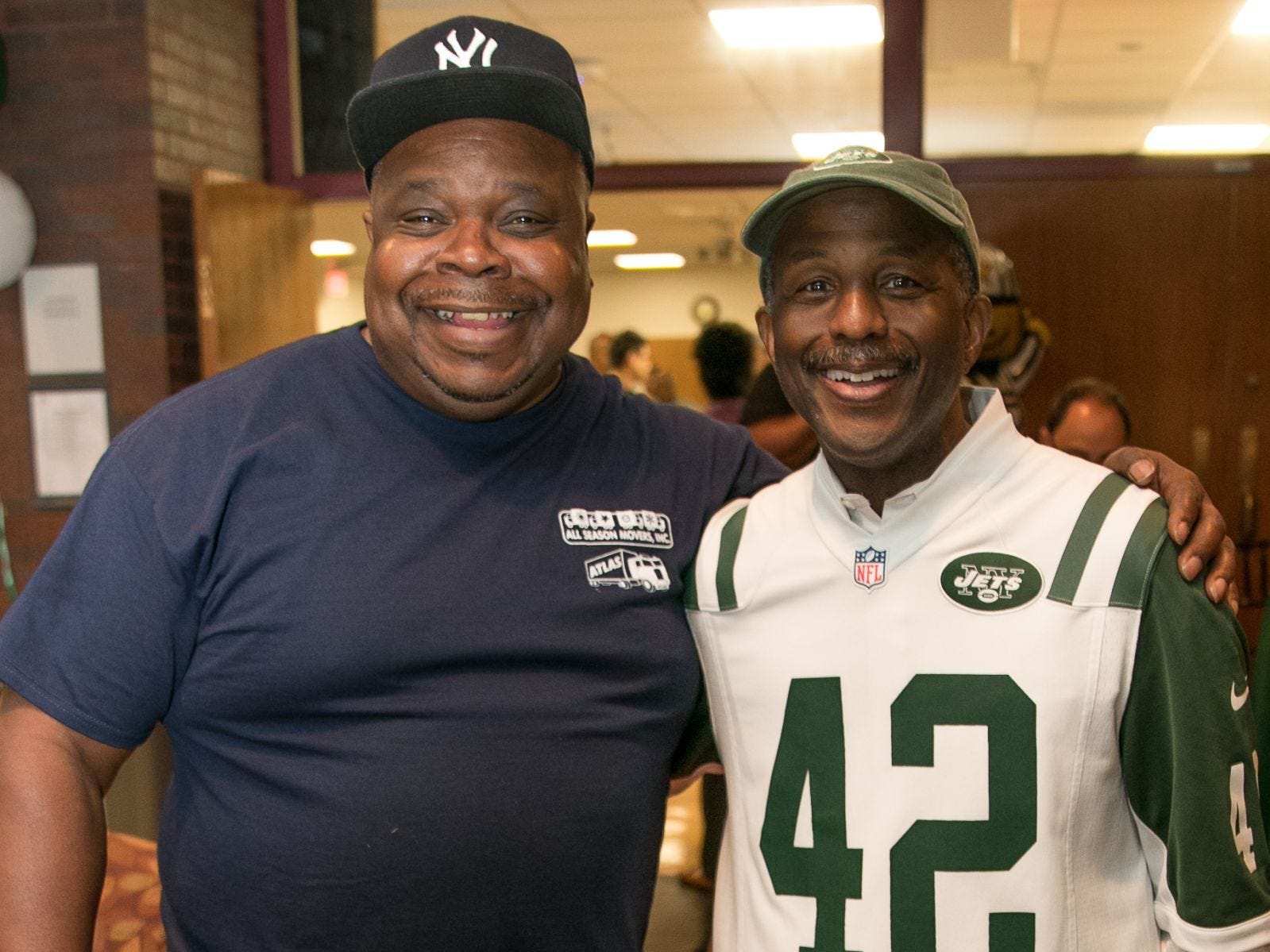 Dennis Crawley with former NY Jet Bruce Harper. Englewood Health hosted its Men's Health and Football event with former Jets and Giants players and Don La Greca from ESPN radio. Attendees watched the Thursday night football game while receiving advice about staying healthy and tackling health problems early on. 09/20/2018