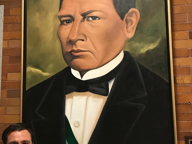 Francisco Del Toro, a Passaic businessman donated this portrait of Benito Juárez that has been hung in the lobby of School No. 5 which was renamed after Juárez Thursday night.
