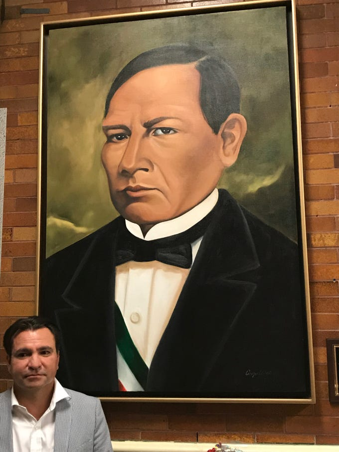 Francisco Del Toro, a Passaic businessman donated this portrait of Benito Juárez. The portrait  has been hung in the lobby of School No. 5, which was renamed after Juárez Thursday night.