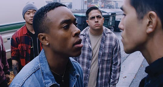 "Tevon (Lenard Jackson) and his entourage confront fellow classmate and rival Fang (Jason Lai) on the streets of San Francisco, in director Rocky Capella's feature-length drama ""Guitar Man,"" which will show at the Borderlands Film Festival."
