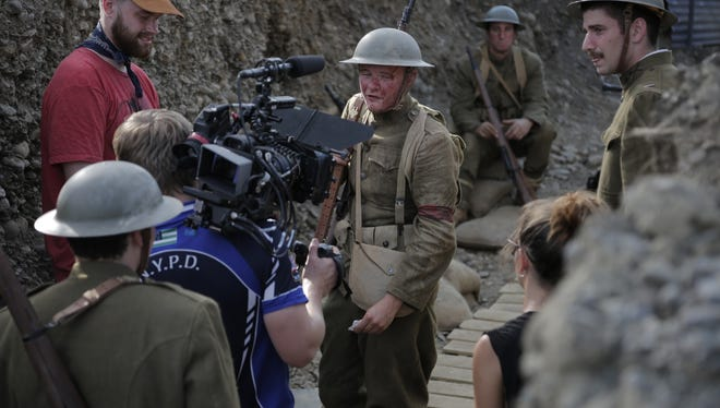 """Writer/director and ex-Marine Tyler Mendelson shoots a scene from the World War I mini-epic """"The Hun."""""""