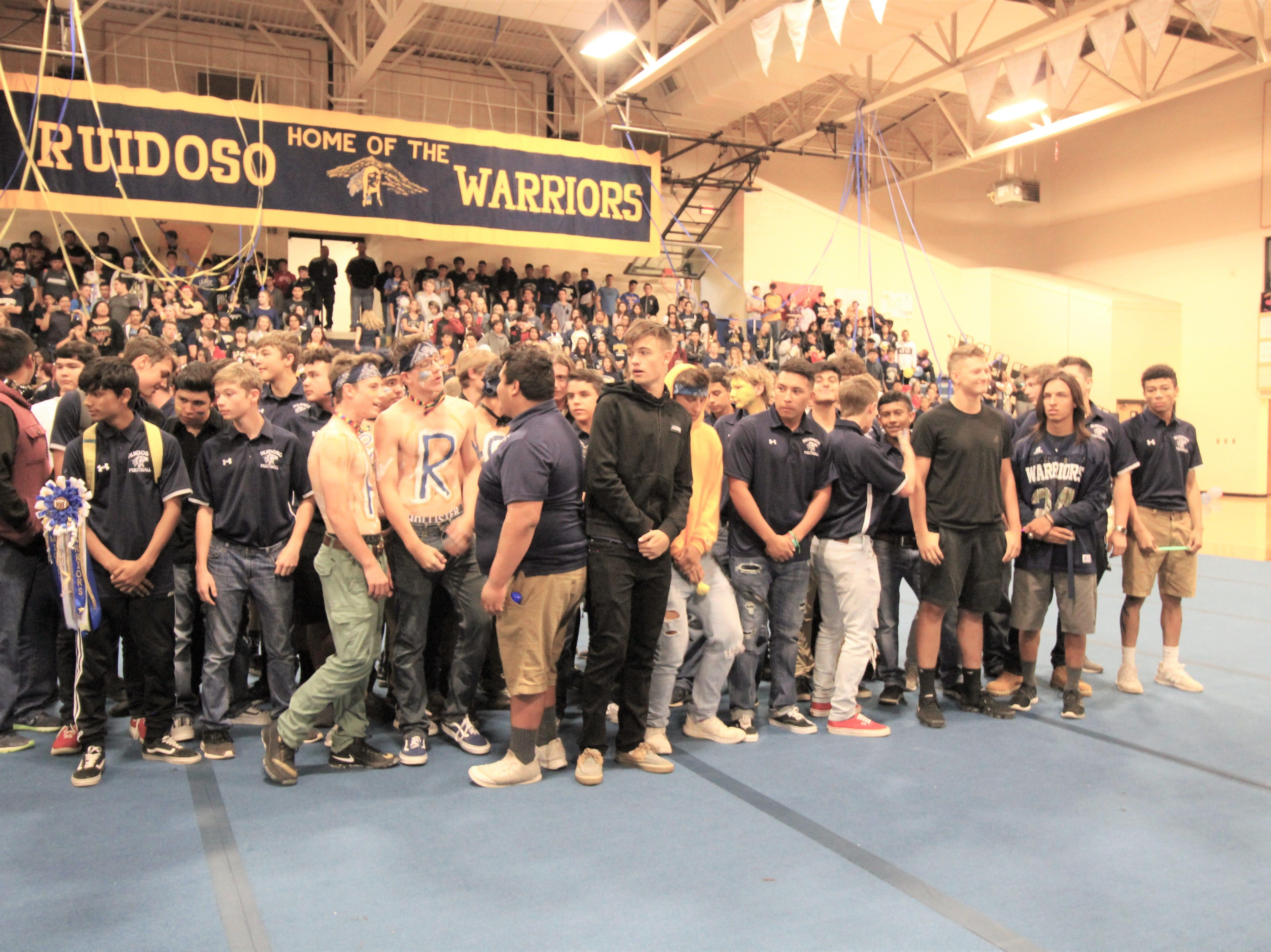 Ruidoso Warrior Football team at the 2018 pep rally. Go Warriors!