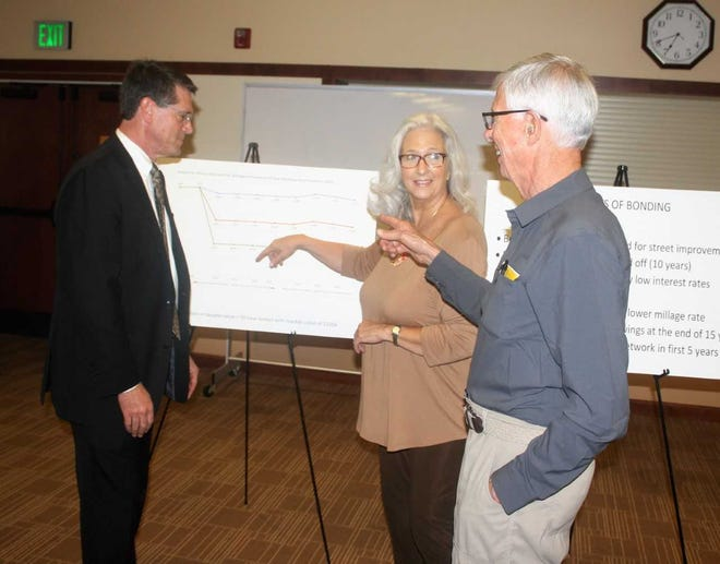Northville residents, from left, Brian Turnbull, Donna Tinberg and Doug Bingham discuss the upcoming roads millage.
