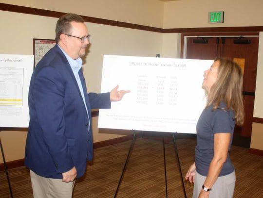Northville City Manager Patrick Sullivan explains the bond issue with resident Jan Valade.