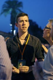 """Jason Gaffney, writer and director of """"Analysis Paralysis,"""" mingles with filmgoers on opening night of Cinema Diverse in Palm Springs."""