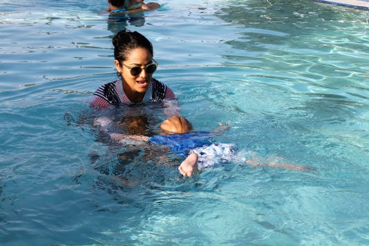 Baby Shark swims to instructor Tanya Orozco
