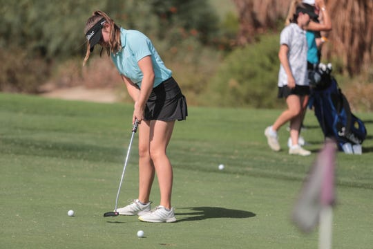 Caroline Wales, Palm Desert High School golfer, on the putting green at Desert Willow Country Club on Friday, September 21, 2018.