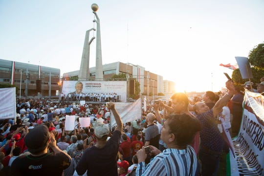 "Thousands gather to hear Mexico's President-elect, Andres Manuel Lopez Obrador speak at Mexicali's Civic Center on September 20, 2018 during his ""Gratitude Tour"" to the capital of Baja California."