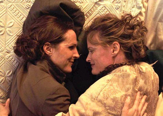 "Molly Shannon (left), stars as Emily Dickinson in ""Wild Nights With Emily"" with Susan Ziegler in the closing night film of Cinema Diverse."