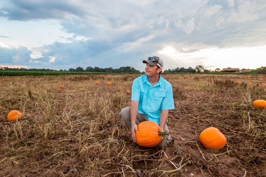 B.J. Holland, 30, manager of Holland Farms, talks about the business' annual Pumpkin Patch, which includes pickable pumpkins, three different corn mazes, hayrides, corn boxes, swings, a petting zoo, and more, on Wednesday, September 19, 2018,