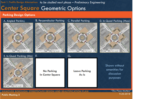 These are parking design plans that Simone Collins presented for how the center square parking could possibly look. These options were presented at the second streetscape meeting at 6 p.m. on Sept. 20 in the Guthrie Memorial Library.