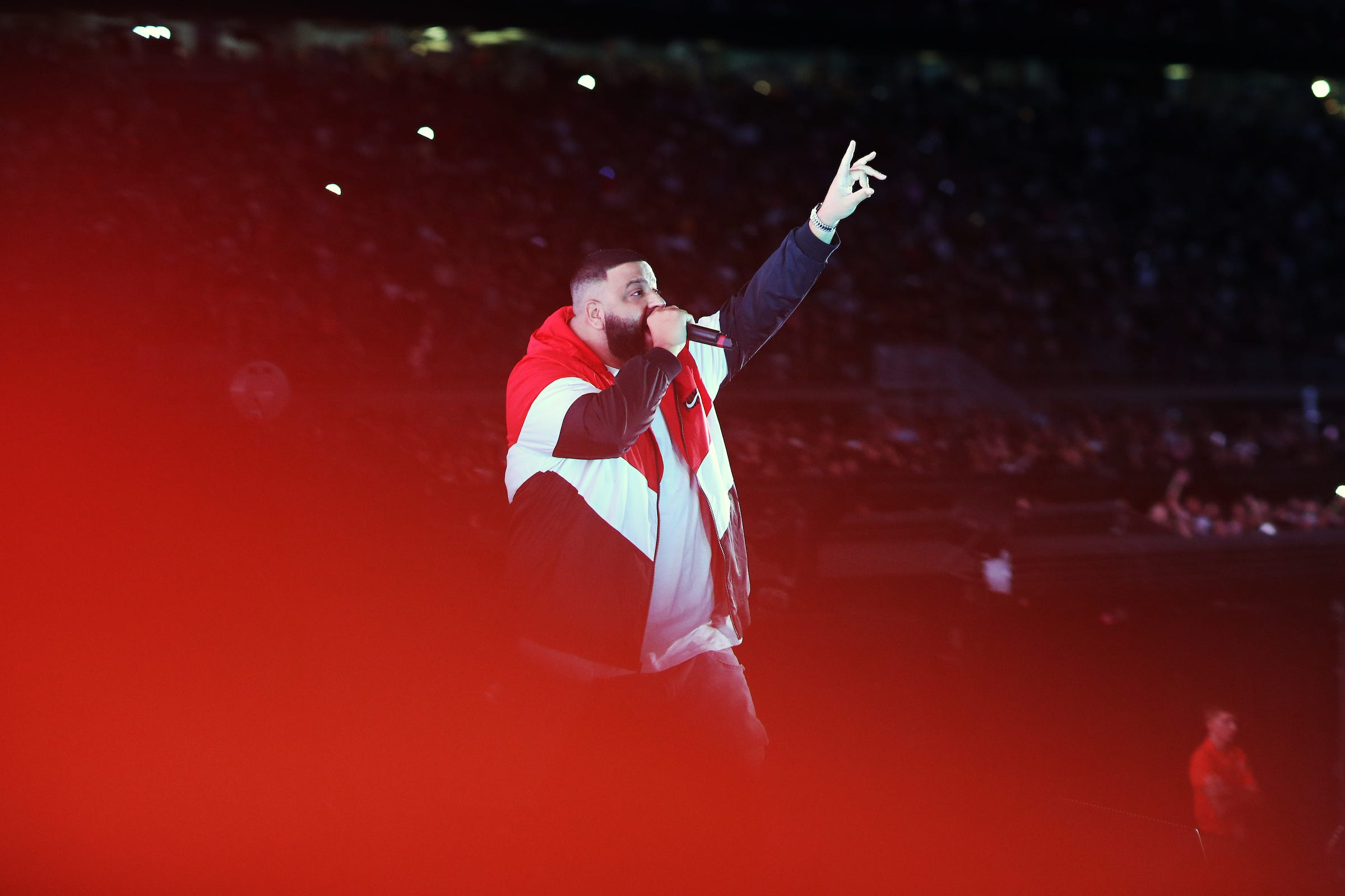 DJ Khaled performs during the 'On The Run II' tour at the University of Phoenix Stadium on Sept. 19, 2018 in Phoenix, Arizona.