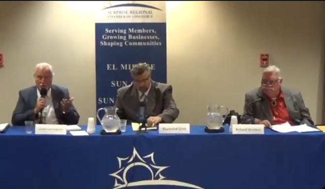 (From left) Jim Cunningham, Raymond Grim, and Surprise Councilman Roland Winters at a candidate forum hosted by the Surprise Regional Chamber of Commerce.