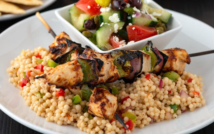 Chicken kebabs from Kovo Mediterranean-inspired restaurant in northeast Phoenix.