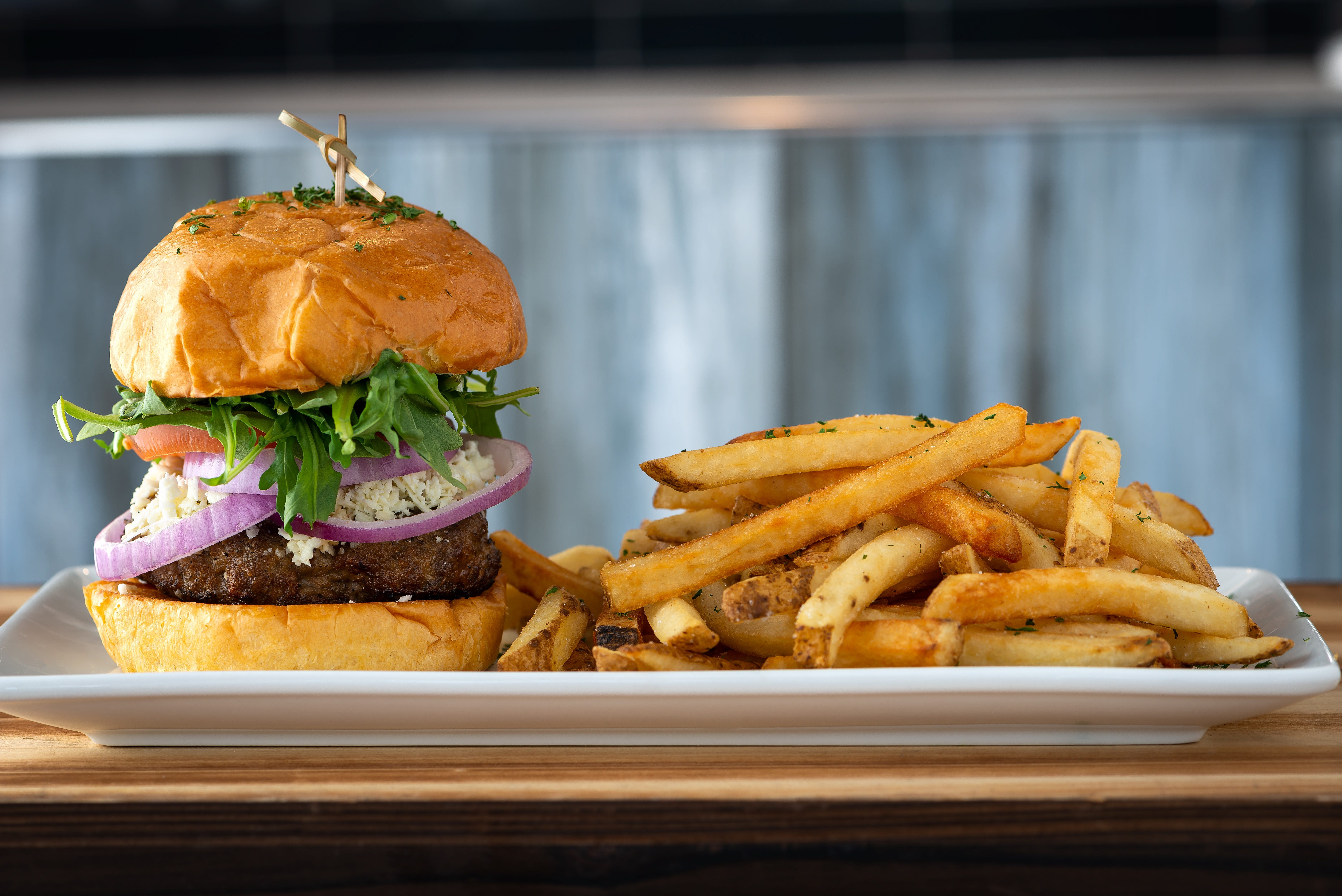 Lamb burger and fries from Kovo, a Mediterranean-inspired restaurant in northeast Phoenix.