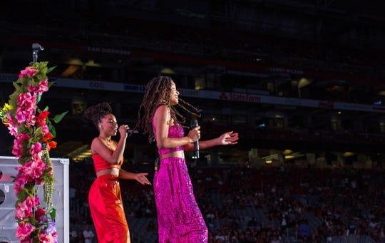Chloe X Halle perform on the 'On The Run II' tour at the University of Phoenix Stadium on Sept. 19, 2018 in Phoenix, Arizona.
