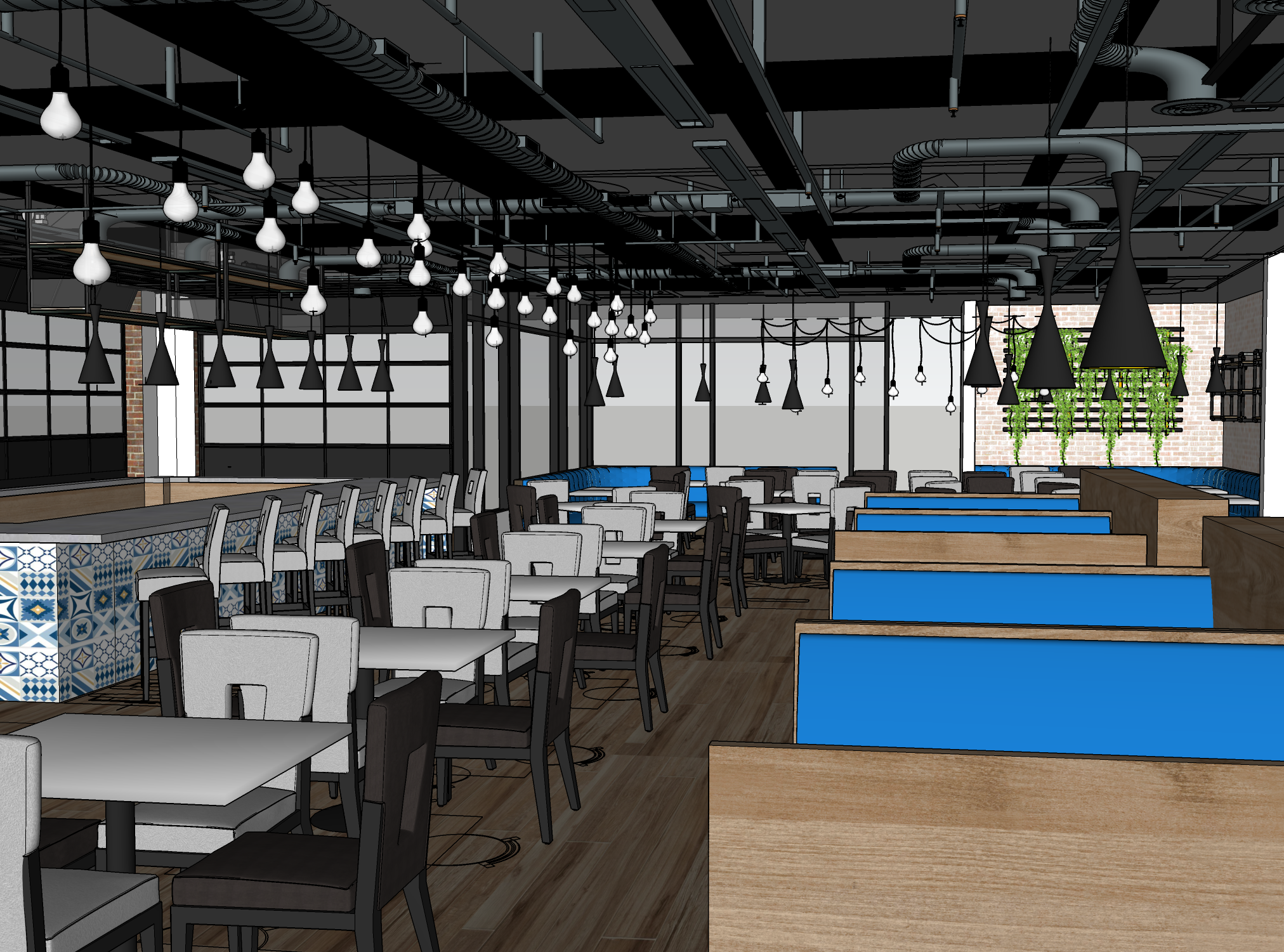 Interior rendering of Kovo, a Mediterranean-inspired restaurant in northeast Phoenix.