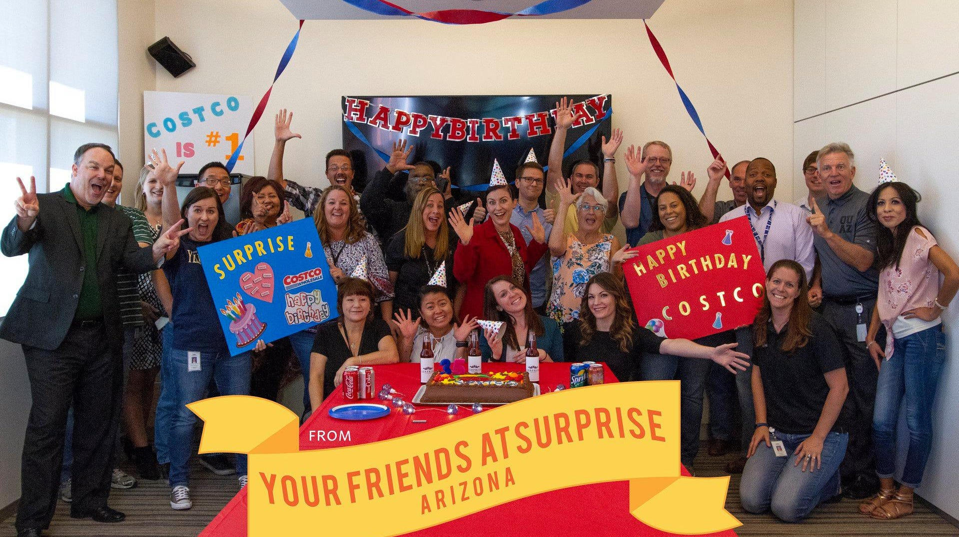 Surprise throws Costco a birthday party to try to attract the retailer.