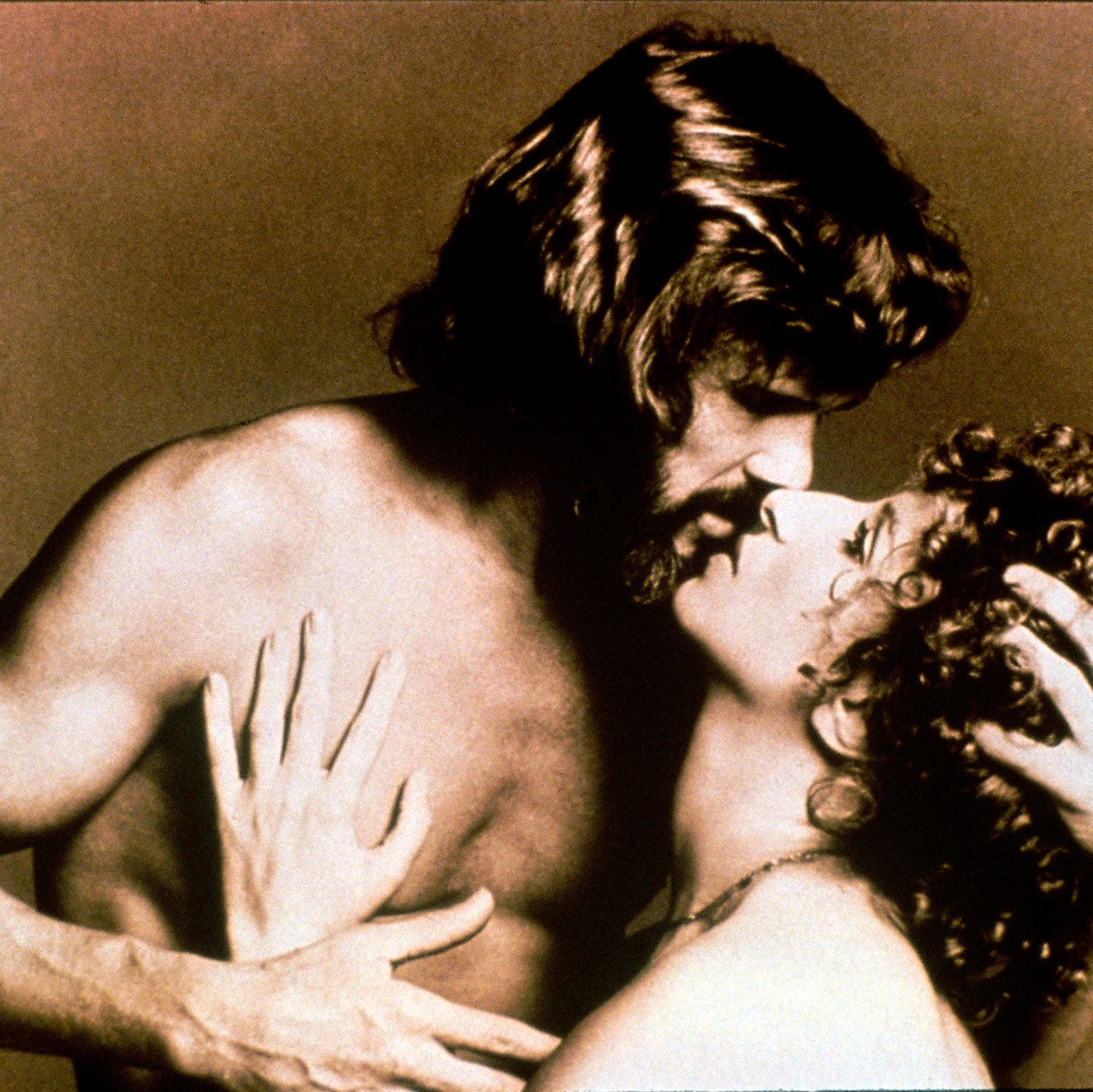 """This image of Kris Kristofferson and Barbra Streisand was use to promote 1976's """"A Star Is Born."""""""