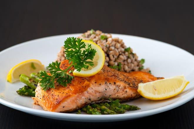 Wood-fired salmon from Kovo, a new Mediterranean-inspired restaurant in northest Phoenix.