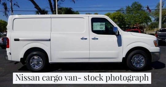 Stock photograph of a similar white van driven by an unidentified man whom police are seeking the public's help to identify.