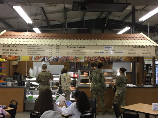 Customers crowded around the new Mediterranean Foods stand during lunch hour Friday, Sept. 21.
