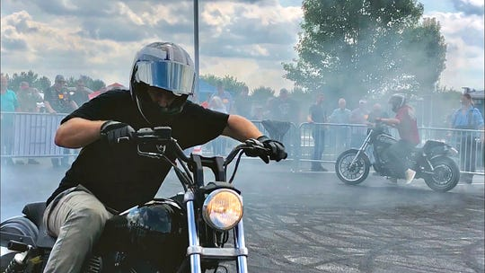 Riders Revel during the York Bike Week Harley-Davidson York Vehicle Operations Open House in Springettsbury Township, Thursday, Sept. 20, 2018. Dawn J. Sagert photo