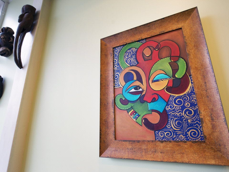 This Chambliss painting is featured in a guest suite with an African Diaspora theme at Grace Manor B&B at 258 West Market Street in 2015.