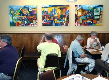 Keep a sharp eye and you'll see Ophelia Chambliss' art exhibited around York County - and beyond. Here, her work appears in Coombs Tavern in York.