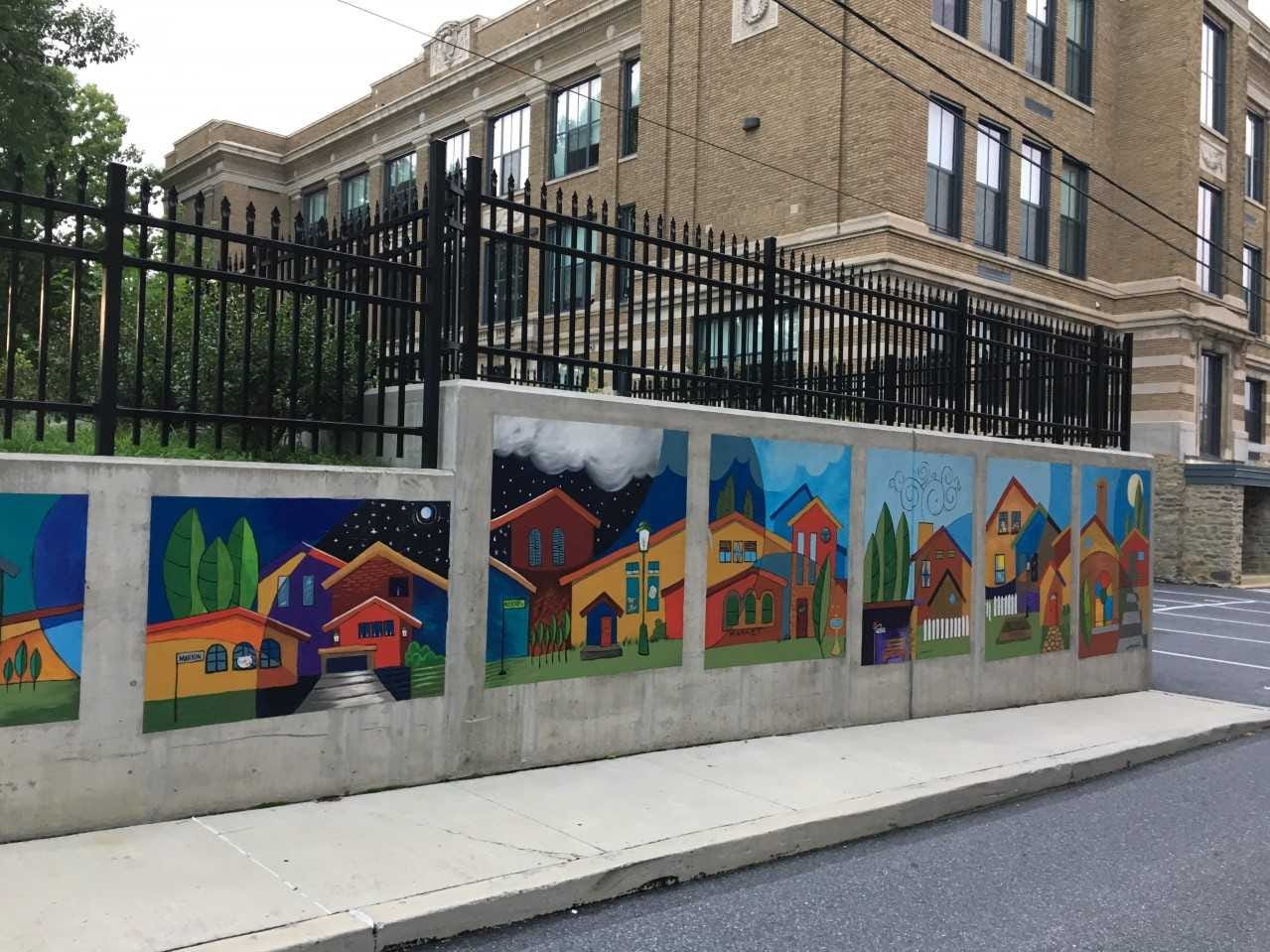 Ophelia Chambliss' work appears on a wall near Robert Fulton Elementary School in Lancaster.