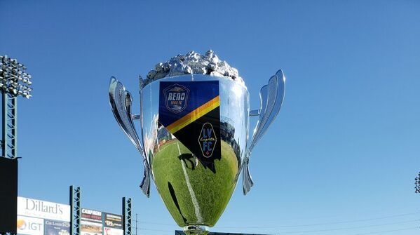 Reno 1868 FC hosts Las Vegas Lights FC on Saturday night at Greater Nevada Field in downtown Reno. This trophy is on the line