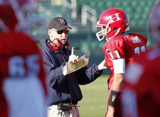 Former Hornell coach Gene Mastin, shown in a 2011 game, believes things can be done to avoid scores in high school football games from getting too far out of hand.