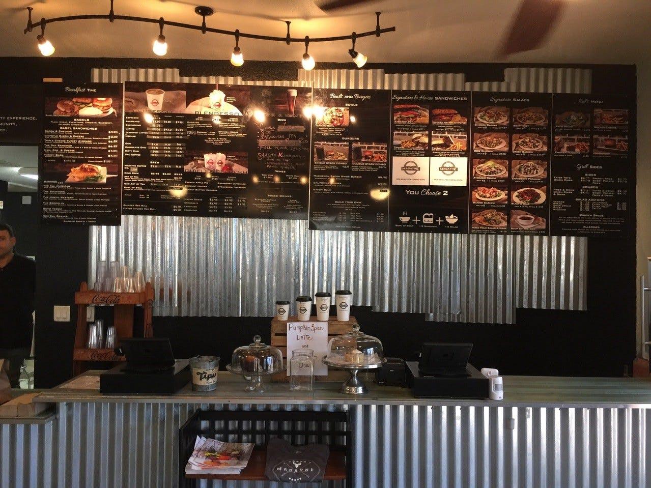 The menu at Madayne's Eureka Way location.