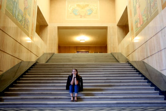 Statesman Journal entertainment reporter Abby Luschei visits the Oregon Capitol Rotunda as one of her top Instagramable spots in Salem on Wednesday, Aug. 29, 2018.