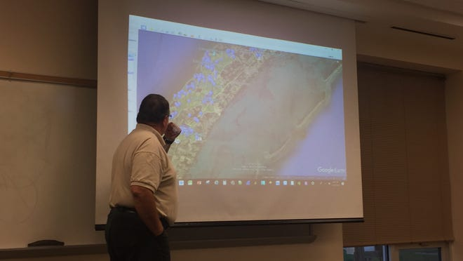 Warren Brasselle, vice president of operations and engineering for NeuBeam, talks about the company's expansion on the Eastern Shore of Virginia at a meeting at Eastern Shore Community College on Thursday, Sept. 20, 2018.