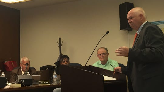 """Accomack School Superintendent W. C. """"Chris"""" Holland addresses the Accomack County Board of Supervisors on Wednesday, Sept. 19, 2018 in Accomac, Virginia."""