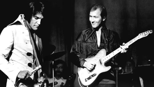 Guitarist James Burton will appear at a special Christmas concert at Graceland playing live with a big-screen Elvis.
