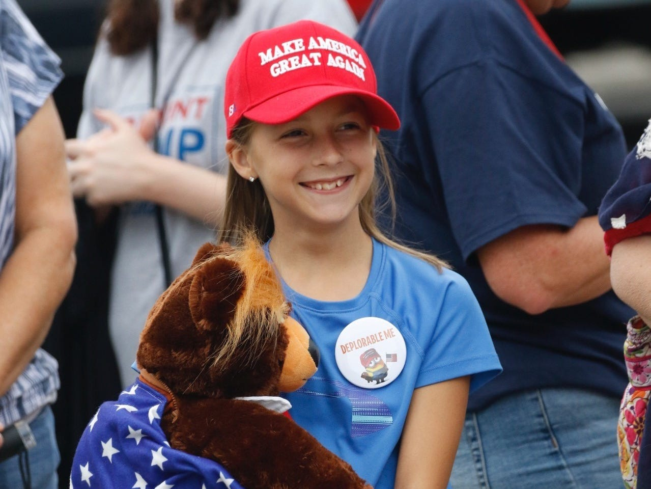 Ava Park, 10, KC, with her Trumpy Bear outside JQH Arena in Springfield on Sept. 21, 2018.