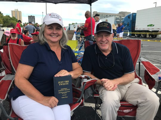 Trisha and Dave Hope were first in line to see Trump. They are from Houston, Texas and arrived at JQH Arena at 5:30 p.m. Thursday.