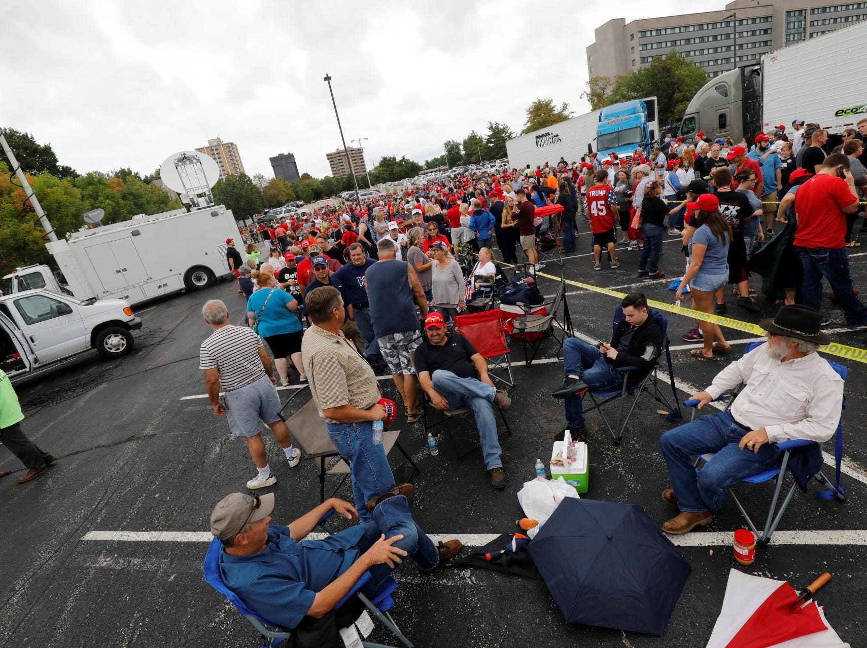 A large crowd awaits the arrival of President Trump outside JQH Arena in Springfield on Friday, Sept. 21, 2018.